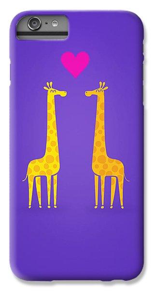 Cute Cartoon Giraffe Couple In Love Purple Edition IPhone 6 Plus Case