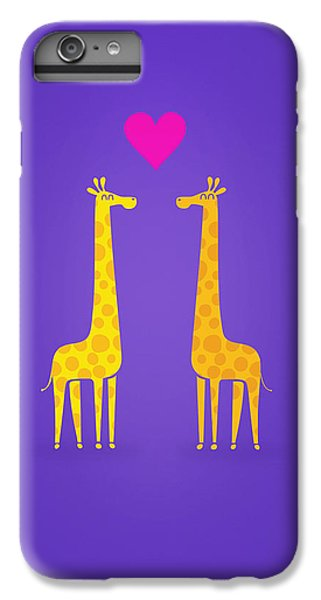 Cute Cartoon Giraffe Couple In Love Purple Edition IPhone 6 Plus Case by Philipp Rietz