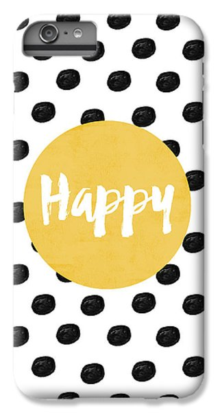 White iPhone 6 Plus Case - Happy Yellow And Dots by Allyson Johnson