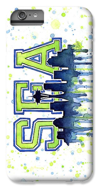 Seattle Watercolor 12th Man Art Painting Space Needle Go Seahawks IPhone 6 Plus Case