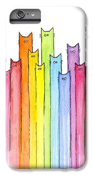 iPhone 6 Plus Case - Cat Rainbow Watercolor Pattern by Olga Shvartsur