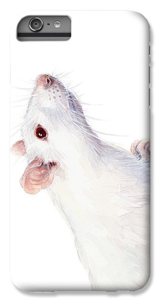 Mouse iPhone 6 Plus Case - White Albino Rat Watercolor by Olga Shvartsur