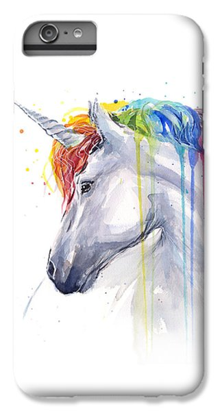 Magician iPhone 6 Plus Case - Unicorn Rainbow Watercolor by Olga Shvartsur