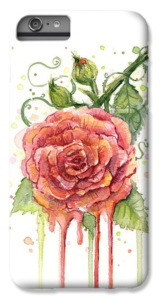 Rose iPhone 6 Plus Case - Red Rose Dripping Watercolor  by Olga Shvartsur