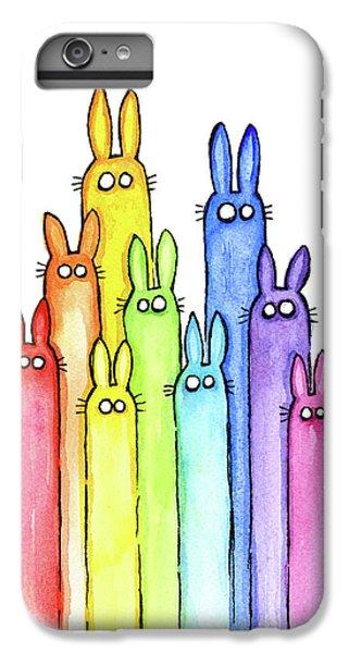 Bunny Rabbits Watercolor Rainbow IPhone 6 Plus Case by Olga Shvartsur