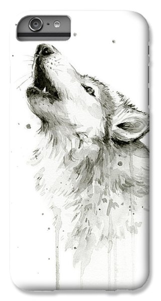Wolves iPhone 6 Plus Case - Howling Wolf Watercolor by Olga Shvartsur