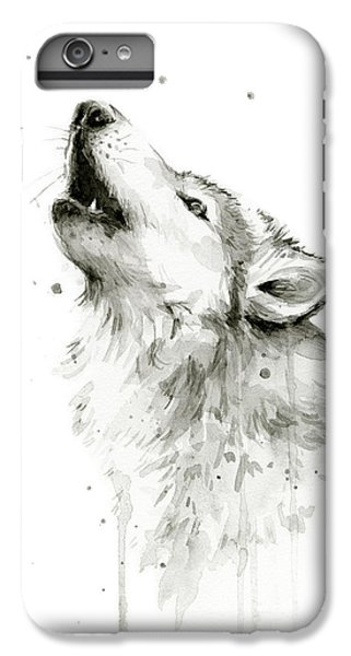 Howling Wolf Watercolor IPhone 6 Plus Case by Olga Shvartsur