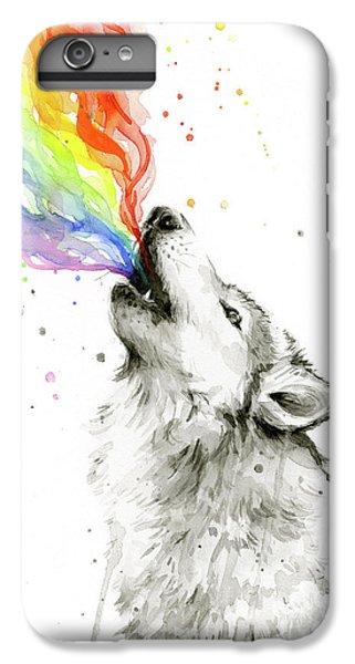 Wolves iPhone 6 Plus Case - Wolf Rainbow Watercolor by Olga Shvartsur