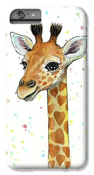 Baby Giraffe Watercolor With Heart Shaped Spots IPhone 6 Plus Case by Olga Shvartsur