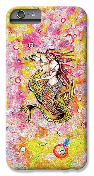 IPhone 6 Plus Case featuring the painting Black Sea Mermaid by Eva Campbell