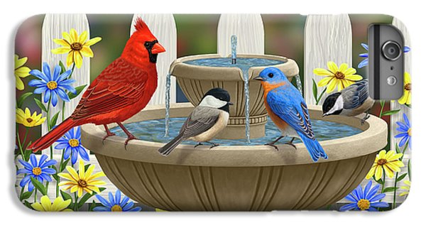 Chickadee iPhone 6 Plus Case - The Colors Of Spring - Bird Fountain In Flower Garden by Crista Forest