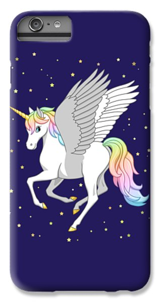 Pegasus iPhone 6 Plus Case - Pretty Rainbow Unicorn Flying Horse by Crista Forest