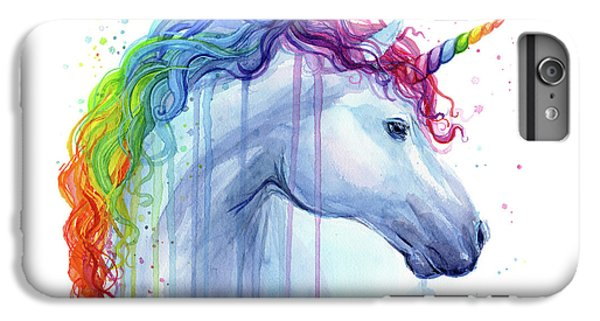 Unicorn iPhone 6 Plus Case - Rainbow Unicorn Watercolor by Olga Shvartsur