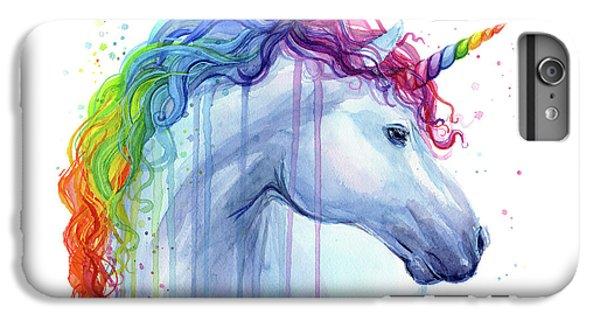 Magician iPhone 6 Plus Case - Rainbow Unicorn Watercolor by Olga Shvartsur