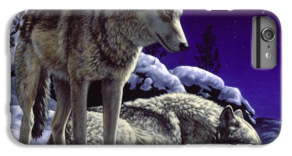Wildlife iPhone 6 Plus Case - Wolf Painting - Night Watch by Crista Forest