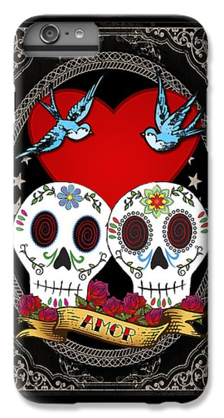 Folk Art iPhone 6 Plus Case - Love Skulls II by Tammy Wetzel