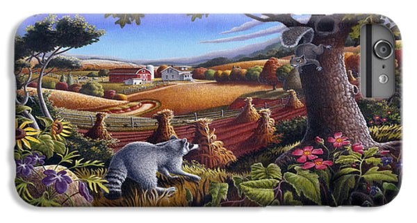 Raccoon iPhone 6 Plus Case - Rural Country Farm Life Landscape Folk Art Raccoon Squirrel Rustic Americana Scene  by Walt Curlee
