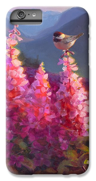 Chickadee iPhone 6 Plus Case - Eagle River Summer Chickadee And Fireweed Alaskan Landscape by Karen Whitworth
