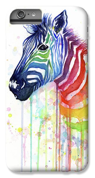 Animals iPhone 6 Plus Case - Rainbow Zebra - Ode To Fruit Stripes by Olga Shvartsur