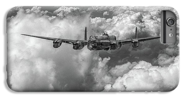 IPhone 6 Plus Case featuring the photograph Avro Lancaster Above Clouds Bw Version by Gary Eason
