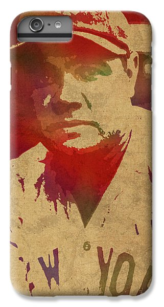 Babe Ruth Baseball Player New York Yankees Vintage Watercolor Portrait On Worn Canvas IPhone 6 Plus Case