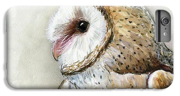 Owl iPhone 6 Plus Case - Barn Owl Watercolor by Olga Shvartsur