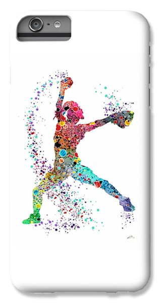 Baseball Softball Pitcher Watercolor Print IPhone 6 Plus Case
