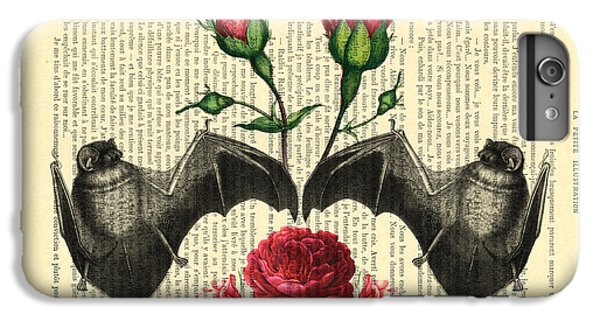 Floral iPhone 6 Plus Case - Bats With Angelic Roses by Madame Memento