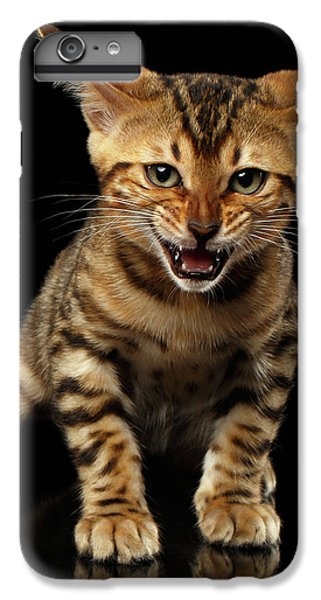 Bengal Kitty Stands And Hissing On Black IPhone 6 Plus Case by Sergey Taran
