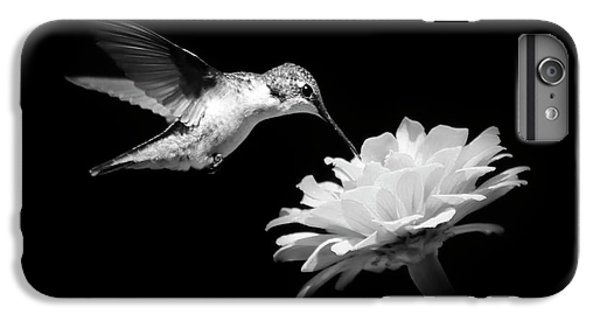 IPhone 6 Plus Case featuring the photograph Black And White Hummingbird And Flower by Christina Rollo