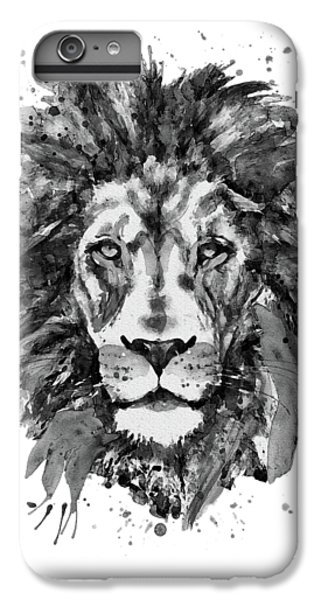 Lion Head iPhone 6 Plus Case - Black And White Lion Head  by Marian Voicu