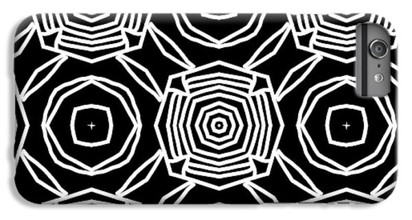 Floral iPhone 6 Plus Case - Black And White Modern Roses- Pattern Art By Linda Woods by Linda Woods