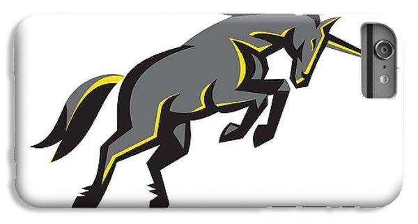 Black Unicorn Horse Charging Isolated Retro IPhone 6 Plus Case by Aloysius Patrimonio