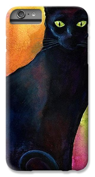 iPhone 6 Plus Case - Black Watercolor Cat Painting By by Svetlana Novikova