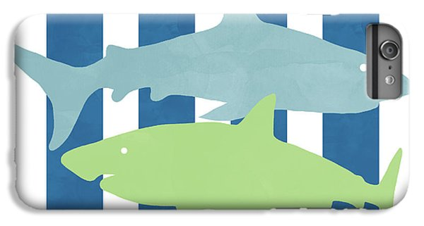 Hammerhead Shark iPhone 6 Plus Case -  Blue And Green Sharks- Art By Linda Woods by Linda Woods