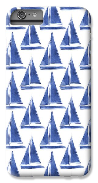 Boat iPhone 6 Plus Case - Blue And White Sailboats Pattern- Art By Linda Woods by Linda Woods