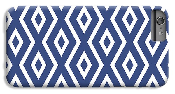 White iPhone 6 Plus Case - Blue Pattern by Christina Rollo