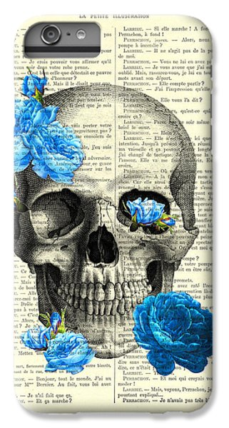 Floral iPhone 6 Plus Case - Blue Roses With Skull Art Print by Madame Memento