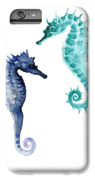 Blue Seahorses Watercolor Painting IPhone 6 Plus Case