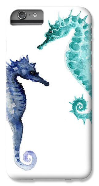 Blue Seahorses Watercolor Painting IPhone 6 Plus Case by Joanna Szmerdt