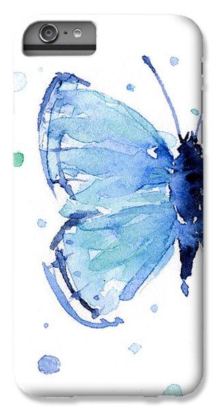 Blue Watercolor Butterfly IPhone 6 Plus Case by Olga Shvartsur