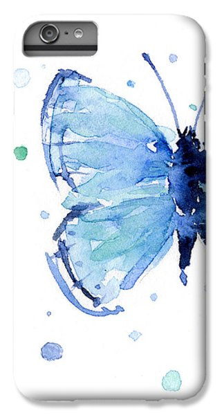 Butterfly iPhone 6 Plus Case - Blue Watercolor Butterfly by Olga Shvartsur