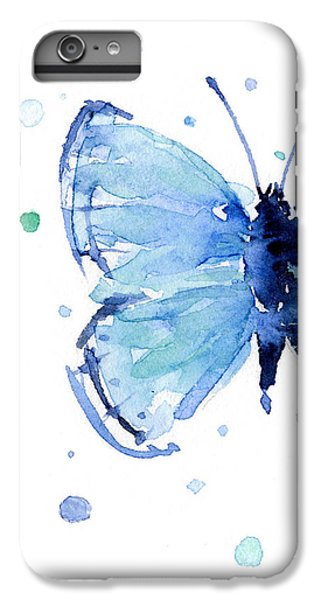 Blue Watercolor Butterfly IPhone 6 Plus Case by Olga Shvartsur
