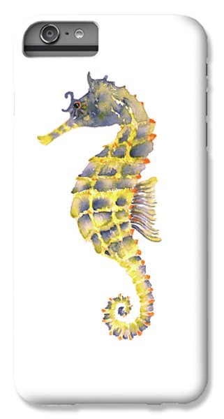 Blue Yellow Seahorse - Square IPhone 6 Plus Case by Amy Kirkpatrick