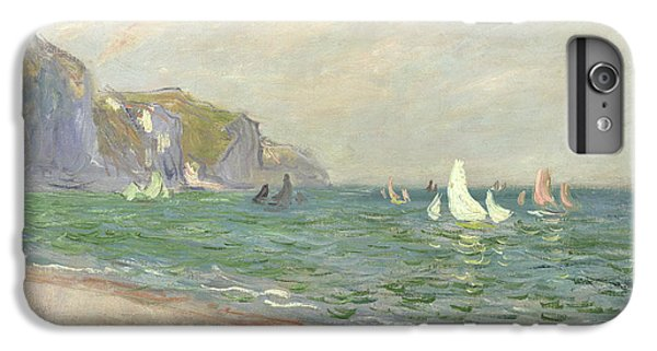 Boat iPhone 6 Plus Case - Boats Below The Cliffs At Pourville by Claude Monet