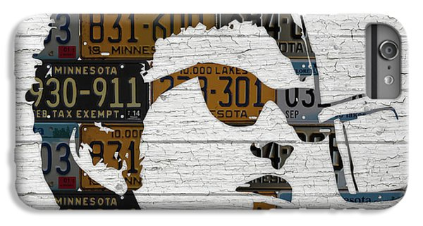 Bob Dylan Minnesota Native Recycled Vintage License Plate Portrait On White Wood IPhone 6 Plus Case by Design Turnpike