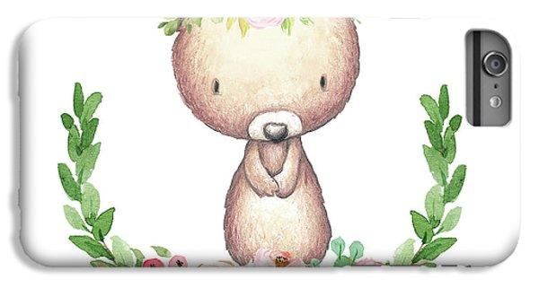 Floral iPhone 6 Plus Case - Boho Bear Nursery Pillow Wall Art Mug Woodland Decor by Pink Forest Cafe