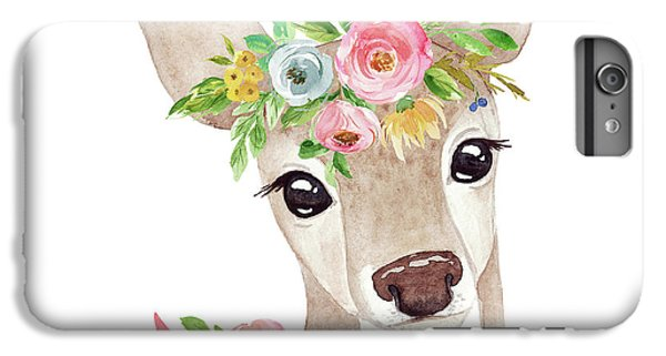 Floral iPhone 6 Plus Case - Boho Woodland Deer With Ribbon by Pink Forest Cafe