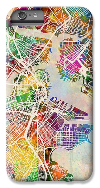 Boston Massachusetts Street Map IPhone 6 Plus Case by Michael Tompsett