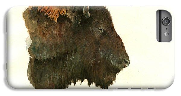 Buffalo iPhone 6 Plus Case - Buffalo Portrait Head by Juan  Bosco